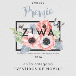 Premio 2016 Atelier Novias Madrid Zankyou Ziwa Raquel Ferreiro