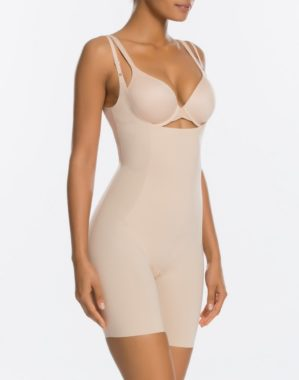 Thinstincts™ Open-Bust Mid-Thigh Bodysuit 10021